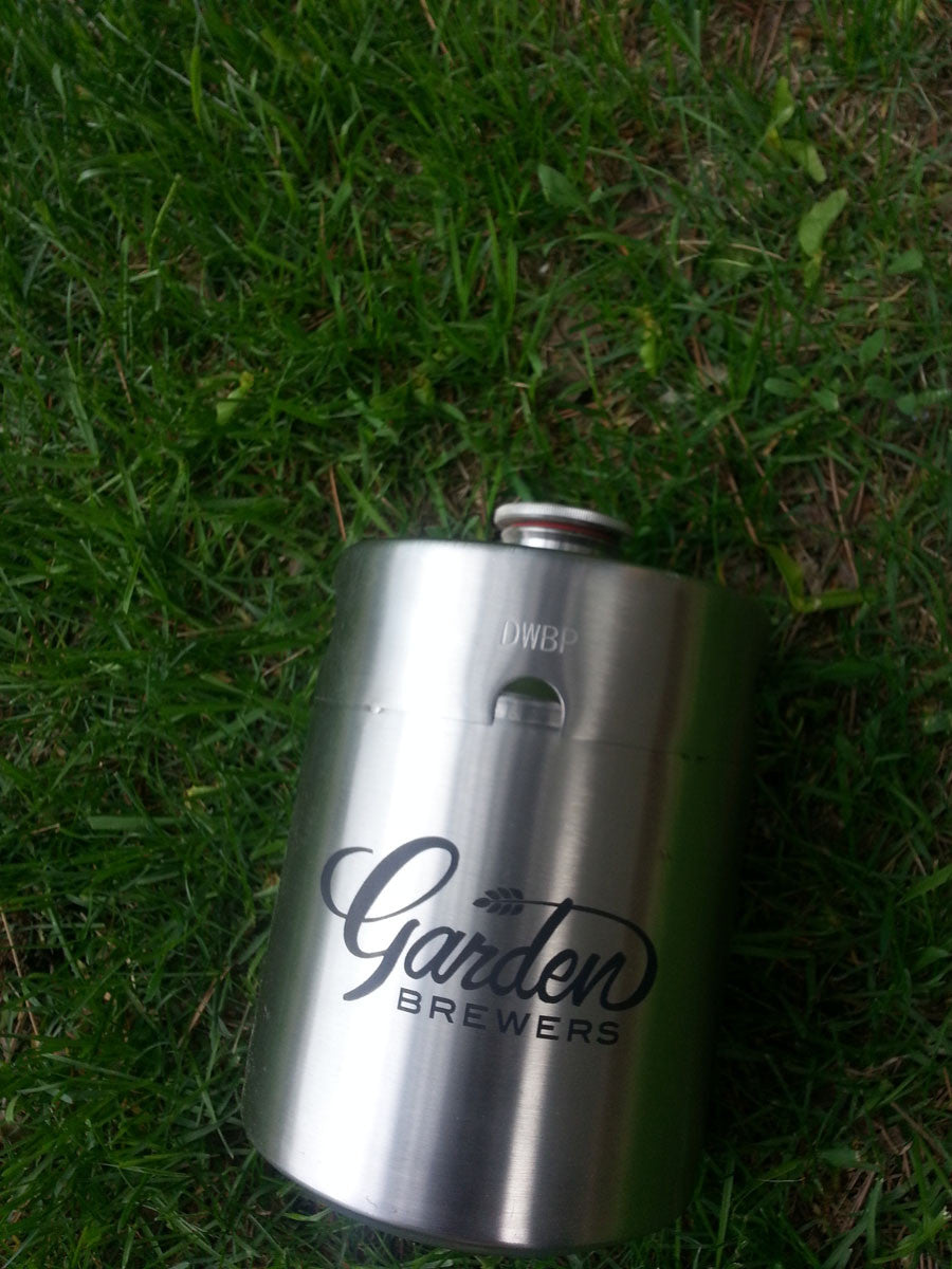 "Stainless Steel ""Mini-Keg"" Growler with Stainless Steel Cap"