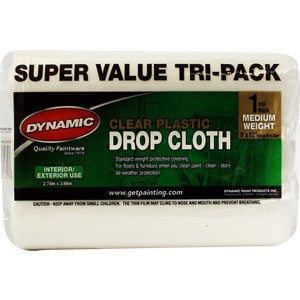 Merit Pro 379 9 x 12 ft. 1 mil. Dynamic Clear Rolled Drop Cloth, 3 Pack