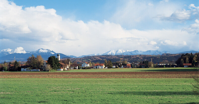 A field in front of a German town, set against the mountains