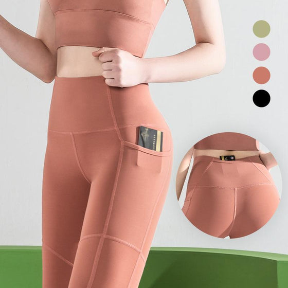 Fitness High-Waisted Pocket Leggings QCFE RealBang