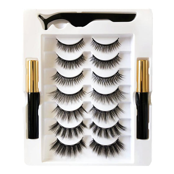 Natural 3D Magnetic Eyeliner Eyelashes Set 7 Pair QY RealBang