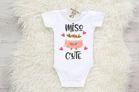 aa1f4b011 Funny Miso Cute Baby Clothes. Japanese Sushi Smart Baby Shower Gift. Miso  Soup Onesie