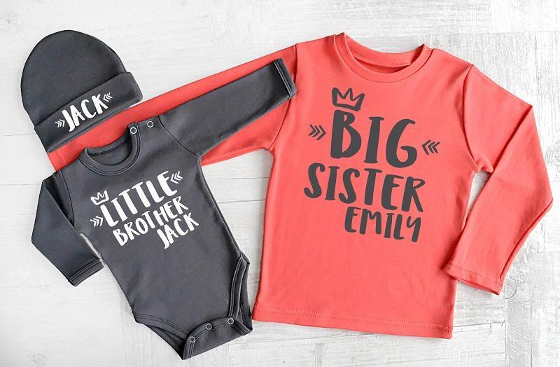 f52f78a3 Big Sister Little Brother Matching Personalized Shirts. Little Brother Baby  Bodysuit and Hat.