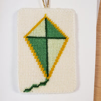 Needlepoint Diamond Kite Ornaments