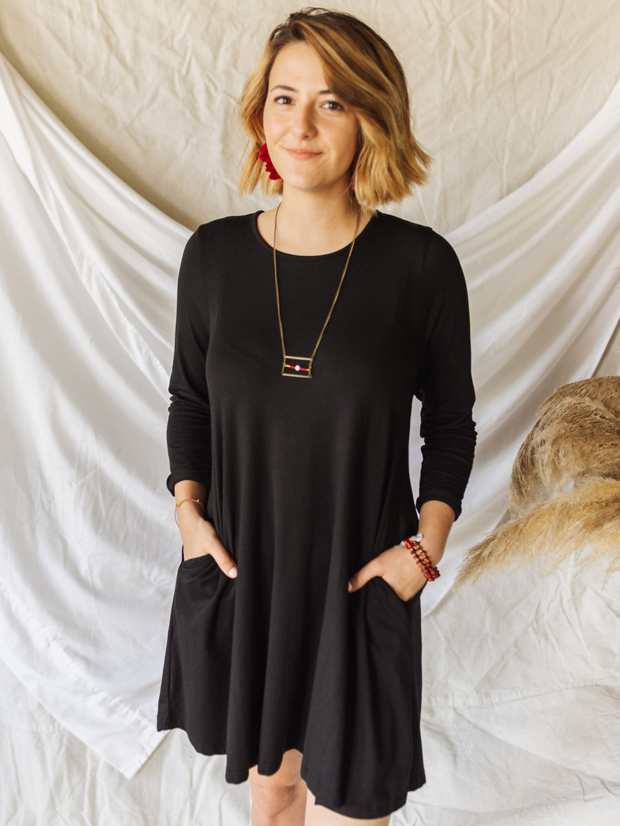Long Sleeve Swing Dress - Black