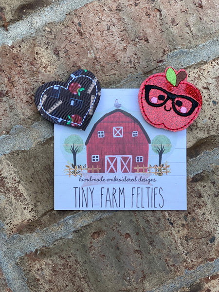 Teacher Heart &/or Nerdy Apple Interchangeable Feltie (Topper Only)