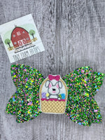 Glitter Bunny basket faux leather bow