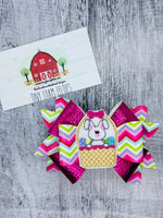 Bunny in Basket Triple Layer Bow with Feltie