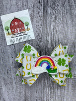 Lucky Rainbow faux leather bow