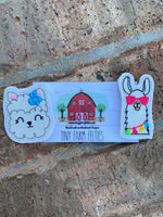 Llama with bow &/or Sunglasses interchangeable Feltie (Topper Only)