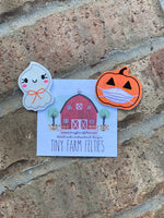 Pumpkin with Mask &/or Happy Ghost Interchangeable Feltie (Topper Only)