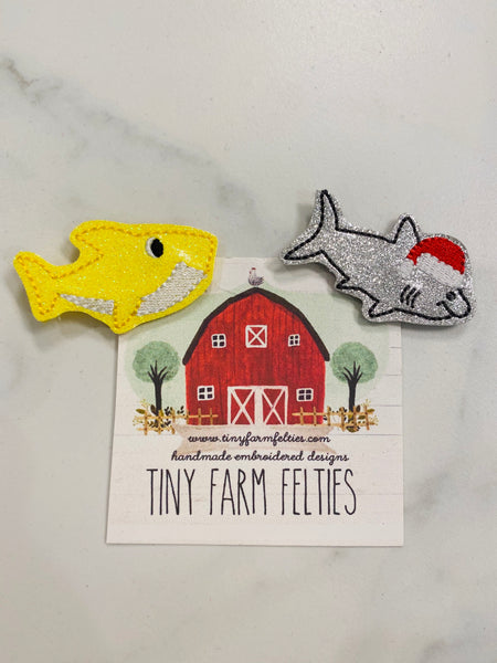 Baby Shark & Santa Shark Interchangeable Feltie (Topper Only)