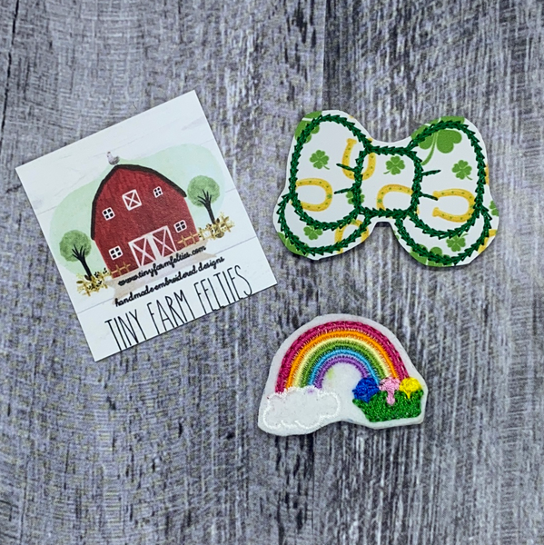 Bow and Rainbow St Pat's Interchangeable Feltie Topper