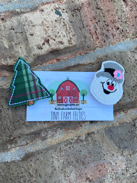 Plaid Christmas Tree & Frosty Interchangeable Feltie (Topper Only)