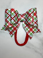 Red, green, blue & white vinyl bow headband