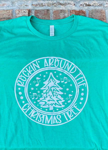 Rockin around the Christmas tree short sleeved tshirt
