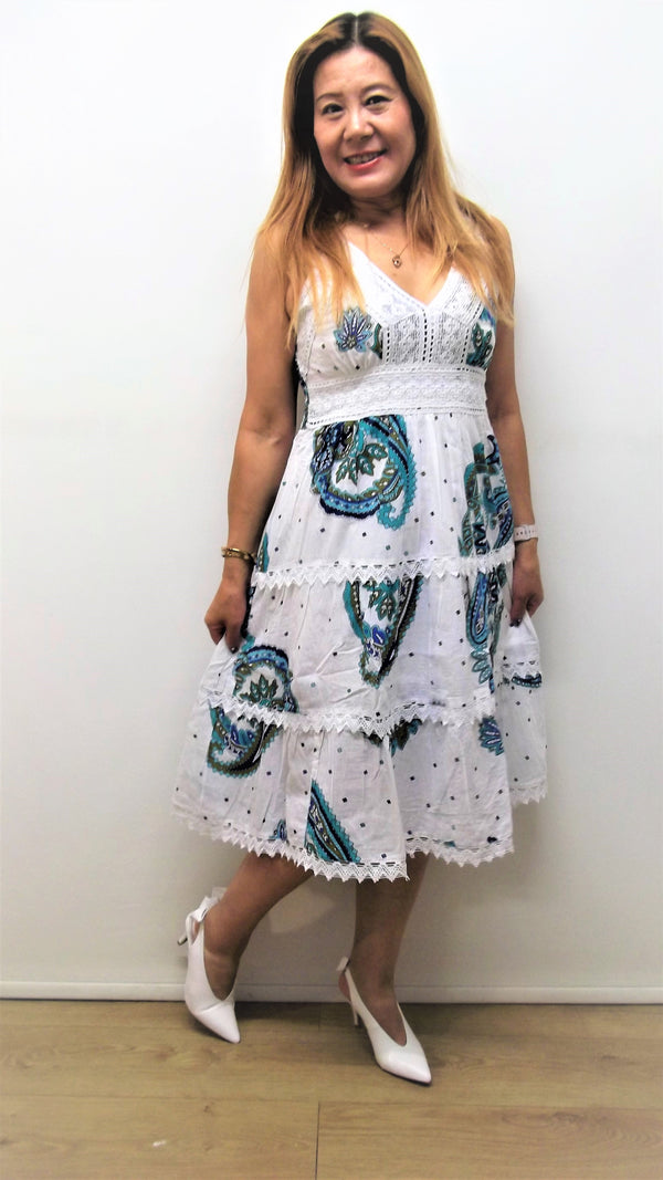 Below Knee Length White Dress With Pattern 100% Cotton