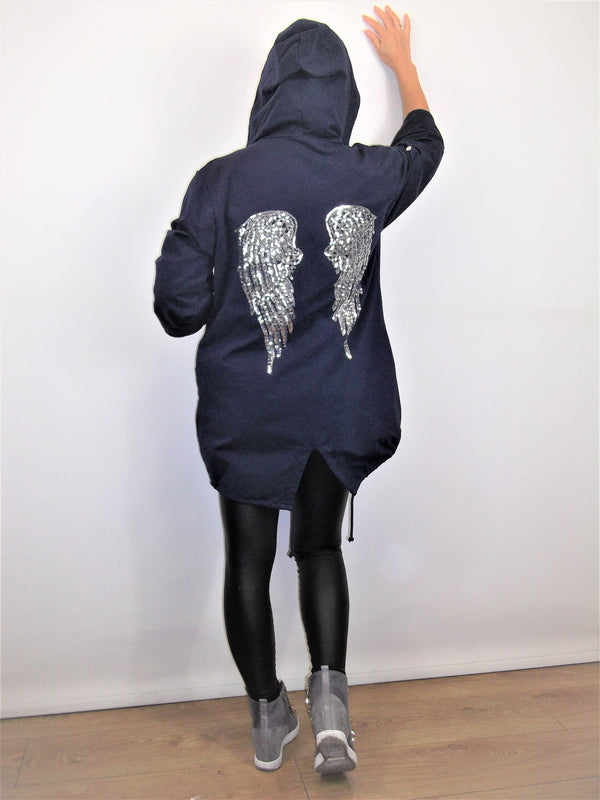 Jacket with Angel Wings on the back Complete with Hood 100% cotton - Made in Italy