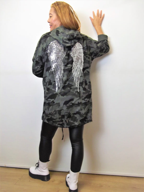 Jacket with Angel Wings on the back Complete with hood  95% cotton Made in Italy