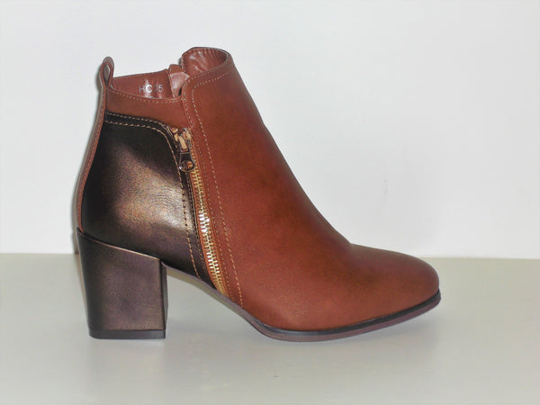 Camel colour Ankle Boot with side fastening zip