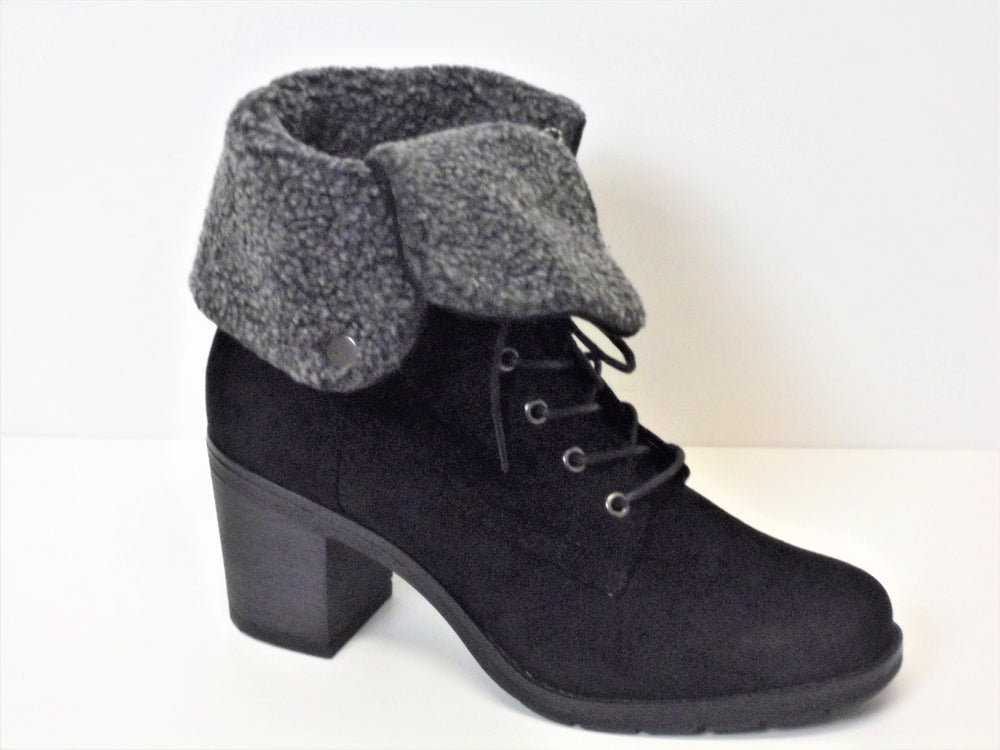 Black Suede Lace up Ankle Boot