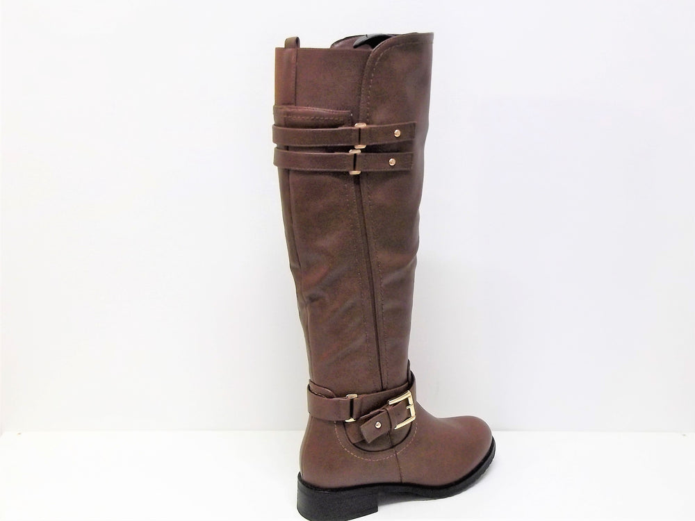 Long Brown boot with Full length side zip