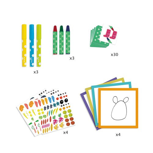 Draw funny little animals coloring set