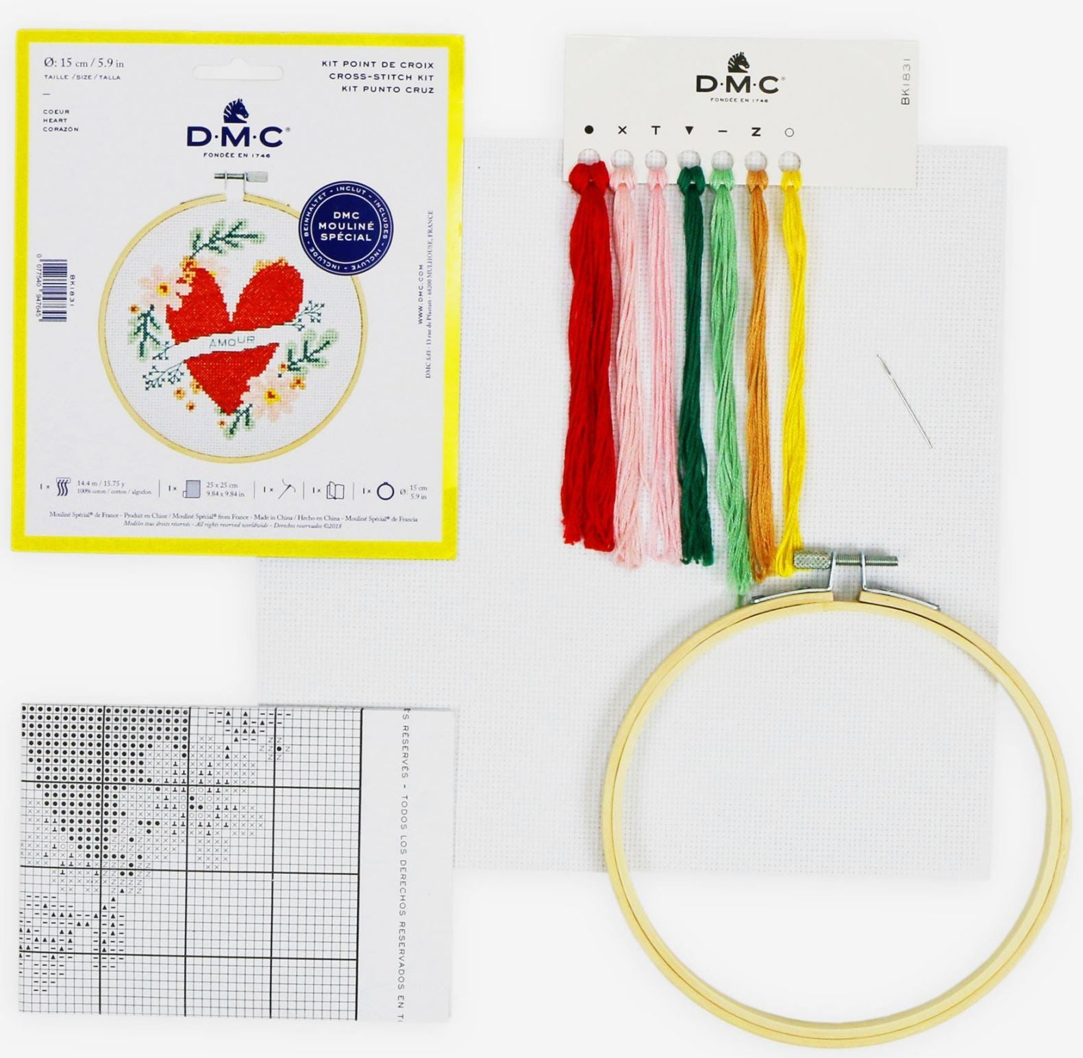 Cross stitch - embroidery ring kit, heart
