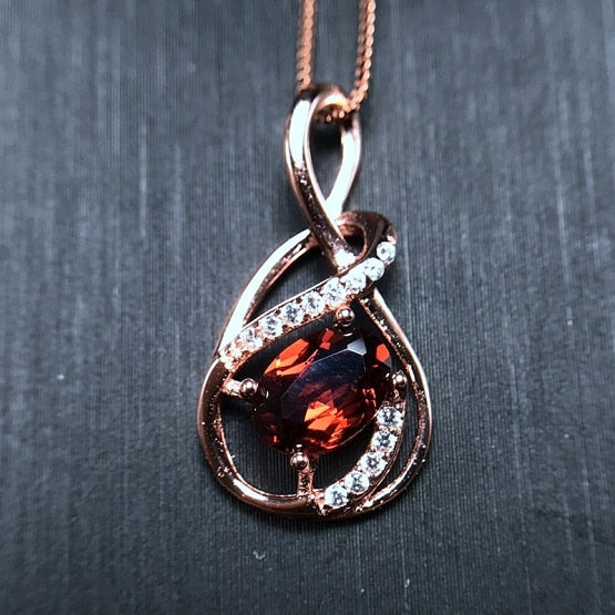Rose Gold Colar Red Garnet Necklace