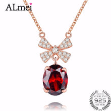 Load image into Gallery viewer, Red Garnet Sterling Silver Bowknot Necklace