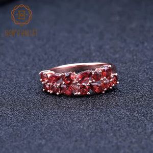Sterling Silver Rose Gold Plated Garnet Ring