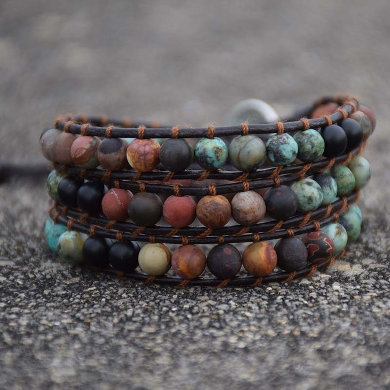 Vintage Leather Matte Stone Wrap Bracelets