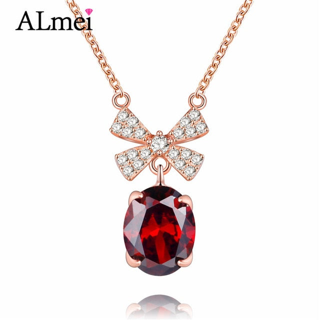 Red Garnet Sterling Silver Bowknot Necklace