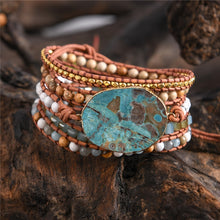 Load image into Gallery viewer, 5 Layers Leather Wrap Stone Bracelet