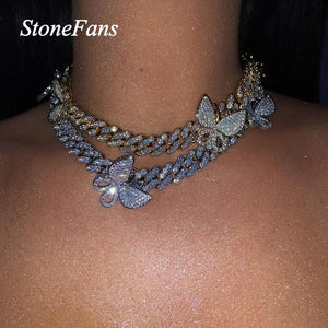Cuban Chain Iced Out Butterfly Choker