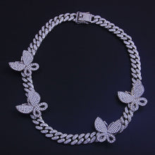 Load image into Gallery viewer, Cuban Chain Iced Out Butterfly Choker