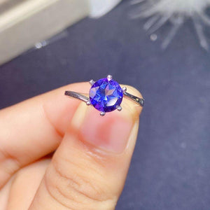 Natural Tanzanite Sterling Silver Ring