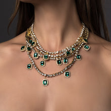 Load image into Gallery viewer, Iced Out Green Gold Rhinestone Choker