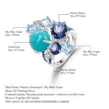 Load image into Gallery viewer, Amazonite Sky Blue Topaz Quartz Gemstone Ring