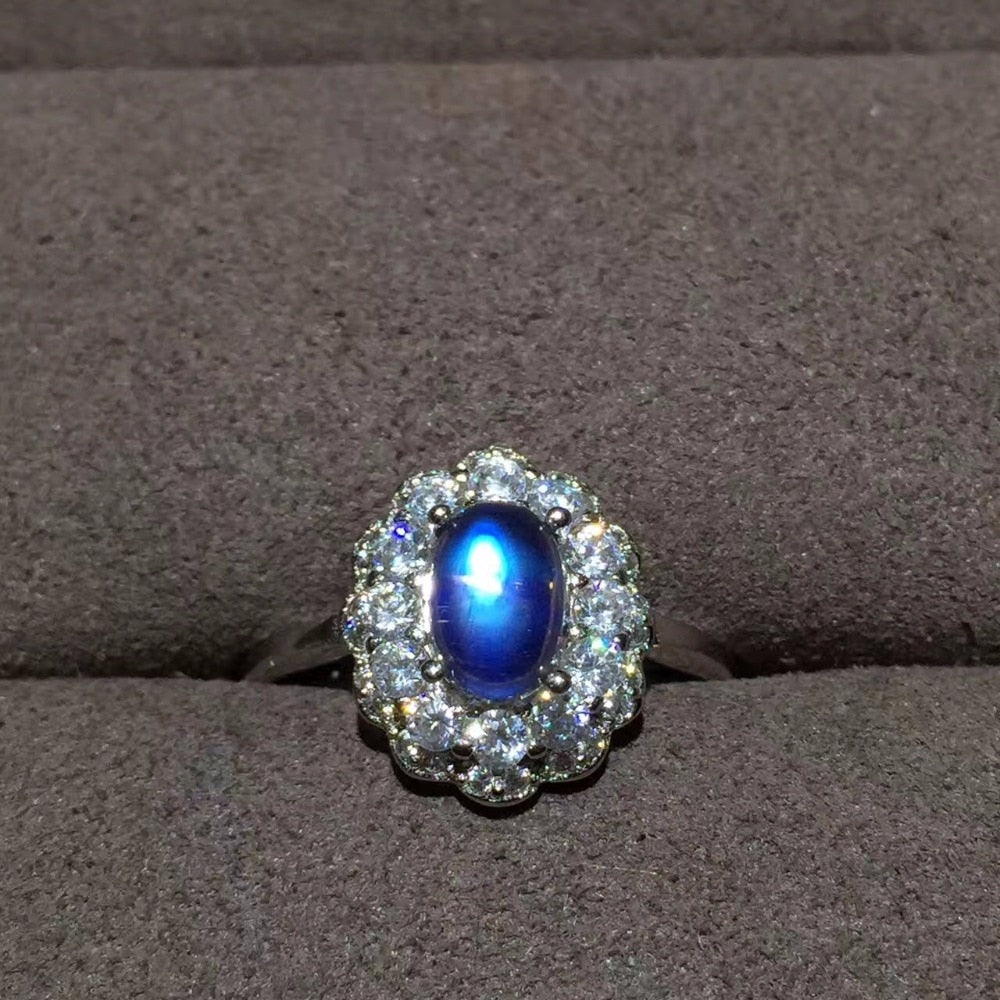 Natural Blue Moonstone Silver Ring