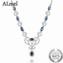 Load image into Gallery viewer, 0.5ct Sapphire Birthstone Solid Silver Necklace
