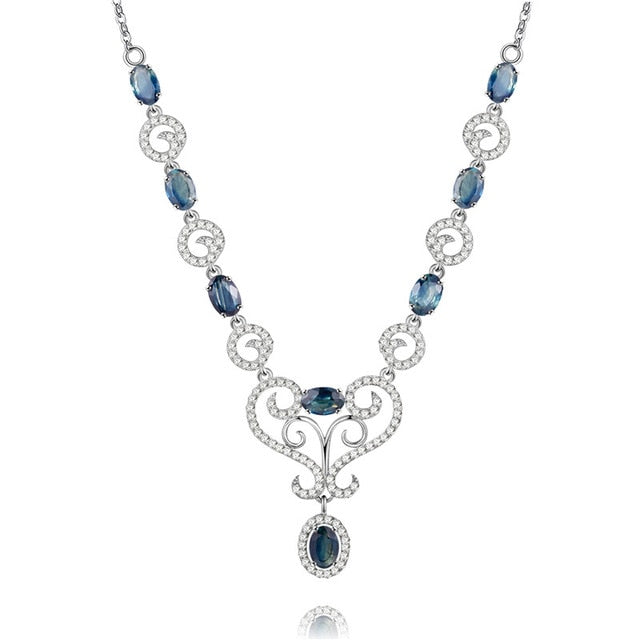0.5ct Sapphire Birthstone Solid Silver Necklace