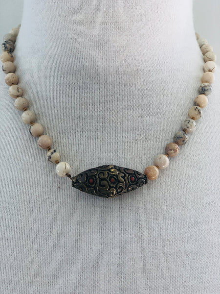 Tibetan Brass and African Opal Necklace