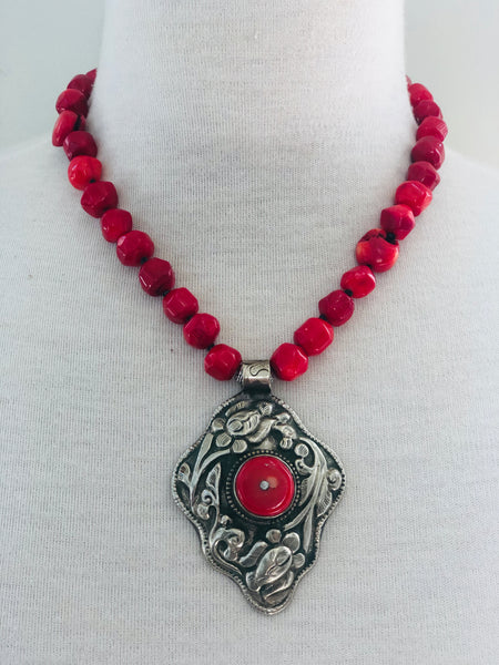 Tibetan Silver and Coral Statement Necklace