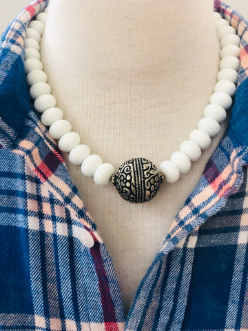 Tibetan Silver Tooled Bead Necklace