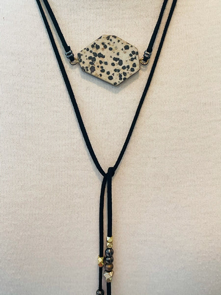 Leather Wrap Necklace With Dalmation Stone