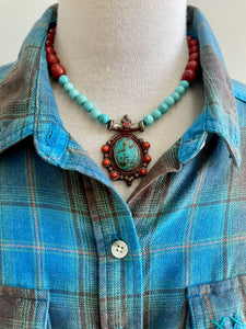 Turquoise and Red Stone Beaded Necklace