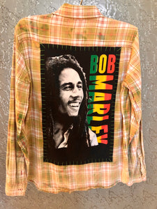 Bob Marley Upcycled Flannel