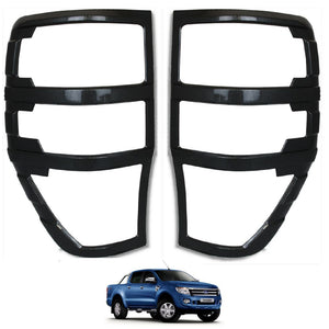 CARBON FIBER Rear Tail Light Cover Trims for Ford Ranger T6 Raptor 2012-2015