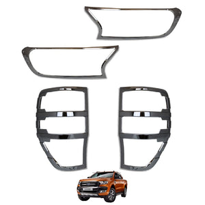 Load image into Gallery viewer, CHROME Front & Rear Light Cover Trims for Ford Ranger T6 Raptor 2016+